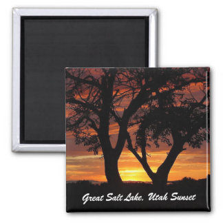Great Salt Lake, Utah Sunset Square Magnet