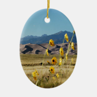 Great Sand Dunes and Flowers Ceramic Ornament