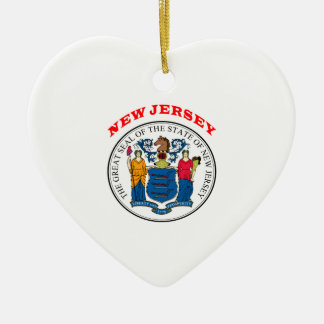 Great Seal Of  State New Jersey Ceramic Heart Decoration