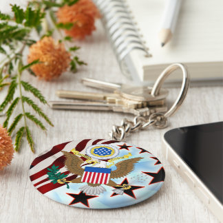Great seal of the United States Basic Round Button Key Ring