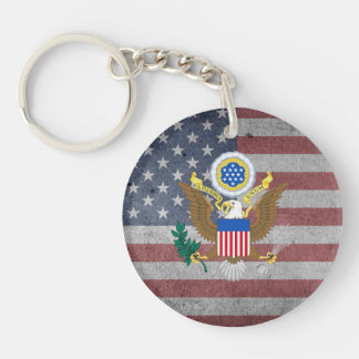 Great Seal of the United States Single-Sided Round Acrylic Key Ring