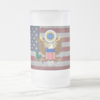 Great seal of United States Frosted Glass Beer Mug