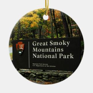 Great Smoky Mountain Autumn Sign Christmas Ceramic Ornament