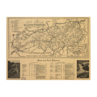 Great Smoky Mountains National Park Map (1941) Wood Prints