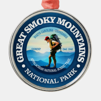 Great Smoky Mountains NP (Hiker C) Silver-Colored Round Decoration