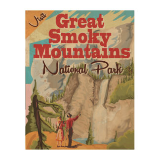 Great Smoky Mountains Travel Poster. Wood Canvas