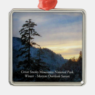 Great Smoky Mountains Winter Sunset Morton Overloo Silver-Colored Square Decoration