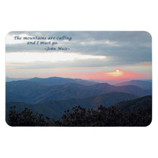 Great Smoky Mtns Sunset: Mtns are calling/J Muir Rectangular Photo Magnet