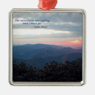 Great Smoky Mtns Sunset: Mtns are calling/J Muir Silver-Colored Square Decoration