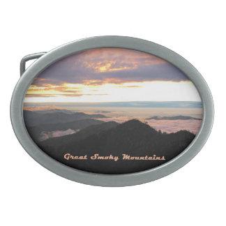 Great Smoky Mtns Sunset Oval Belt Buckle