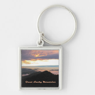 Great Smoky Mtns Sunset Silver-Colored Square Key Ring