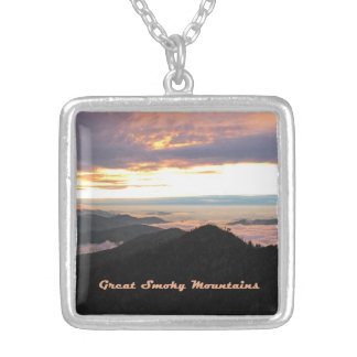 Great Smoky Mtns Sunset Square Pendant Necklace