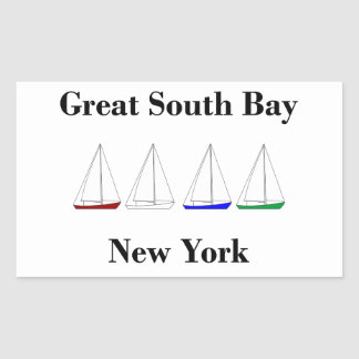 Great South Bay Sailing - Sloop Sailboats Rectangular Sticker