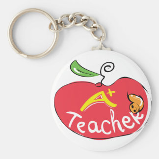 great teacher apple with worm keychain