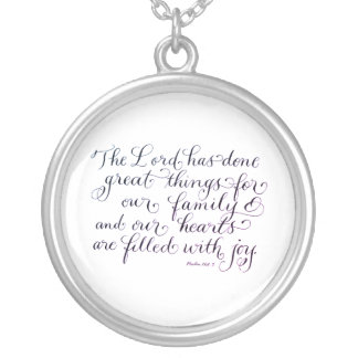 Great things for our family inspirational verse silver plated necklace
