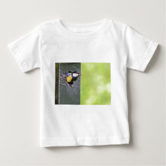 Great tit parent in hole of nest box baby T-Shirt