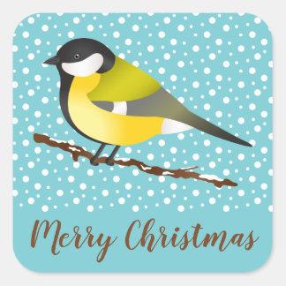 Great Tit Parus Major Bird Winter Merry Christmas Square Sticker
