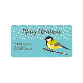 Great Tit Parus Major Christmas Personalizable Label