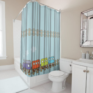 Great Toy Train on-Blue Background Shower Curtain
