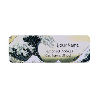 GREAT WAVE Blue White Return Address Label