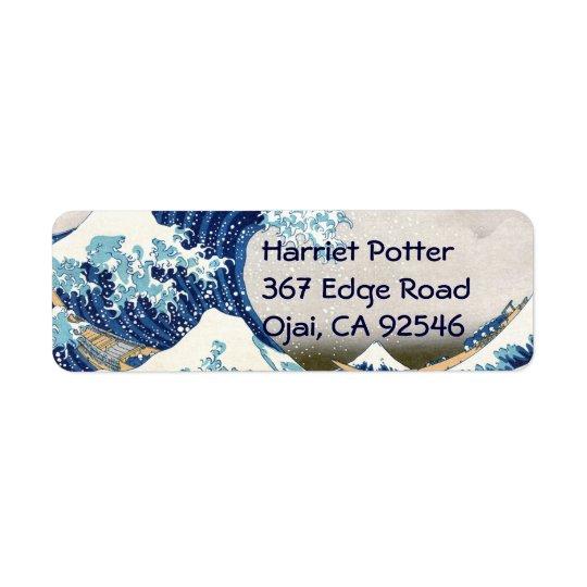 Great Wave Off Kanagawa Hokusai Japanese Fine Art Return Address Label