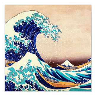 Great Wave Off Kanagawa Japanese Vintage Fine Art 13 Cm X 13 Cm Square Invitation Card