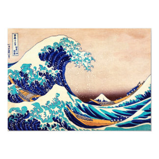 Great Wave Off Kanagawa Japanese Vintage Fine Art 13 Cm X 18 Cm Invitation Card