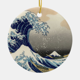 Great Wave off Kanagawa Oriental Fine Art Round Ceramic Decoration
