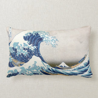 Great Wave Off Kanagawa Vintage Japanese Fine Lumbar Pillow