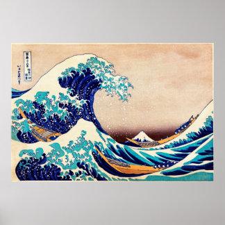 Great Wave Off Kanagawa Vintage Japanese Print Art