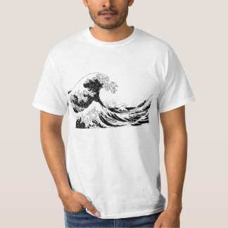 """Great Wave"" T-Shirt, Black and White Size L T-Shirt"
