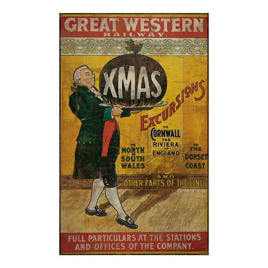 Great Western Railway Christmas Excursions Poster
