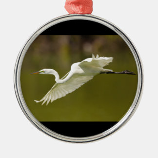 great white egret metal ornament