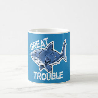 great white great trouble funny cartoon coffee mug