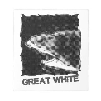 great white halftone grey cartoon with text notepad