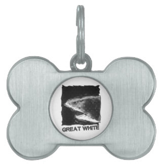great white halftone grey cartoon with text pet ID tag