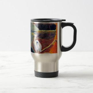 Great White Heron Impressionist Painting Travel Mug