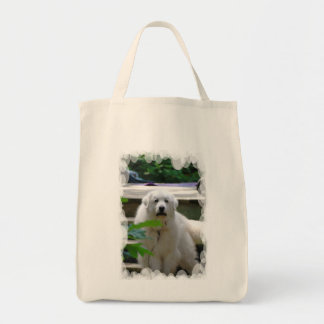 Great White Pyrenees Dog Grocery Tote Bag