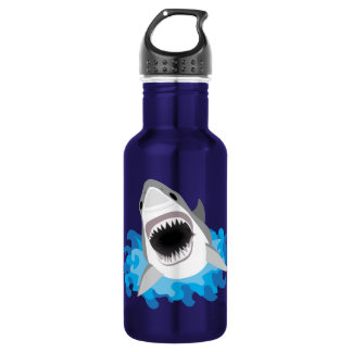 Great White Shark Attack Deep Ocean Blue 532 Ml Water Bottle
