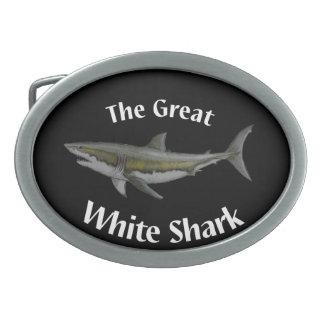 great white shark belt buckle