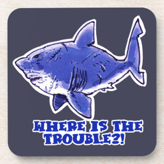 great white shark cartoon with text beverage coasters