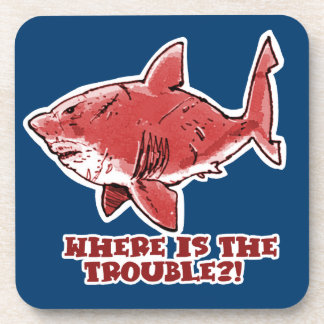 great white shark cartoon with text red tint coasters