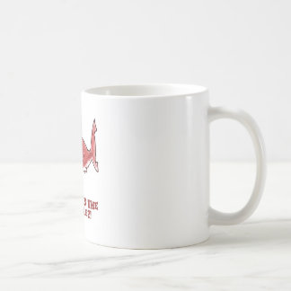 great white shark cartoon with text red tint coffee mug