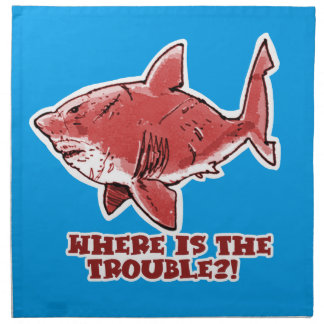 great white shark cartoon with text red tint napkin