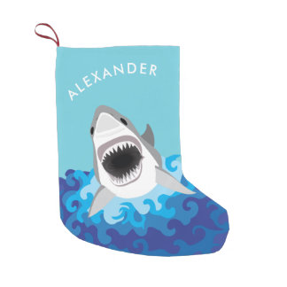 Great White Shark Funny Cartoon Custom Name Small Christmas Stocking
