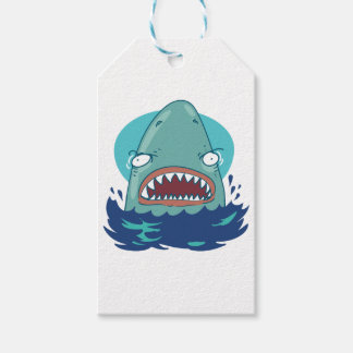great white shark funny cartoon gift tags
