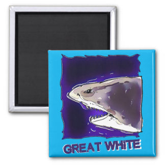 great white shark half body cartoon with text square magnet