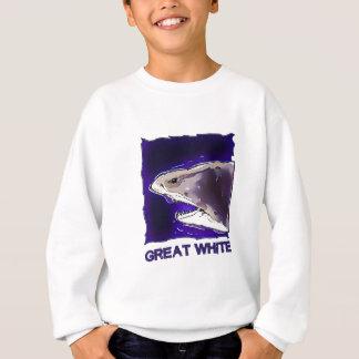 great white shark half body cartoon  with text sweatshirt