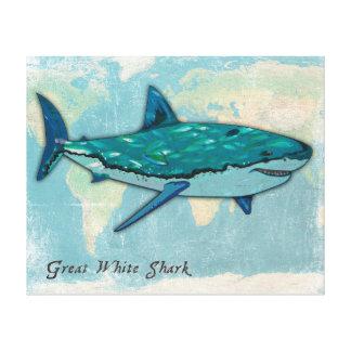 Great White Shark Kids/Nursery Canvas Wall Art. Canvas Print