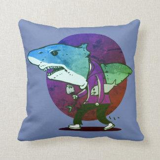 great white shark man walking funny cartoon cushion